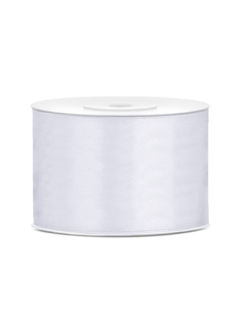 Satin ribbon in white measuring 50mm x 25m