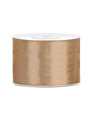Satin light gold ribbon measuring 50mm x 25m