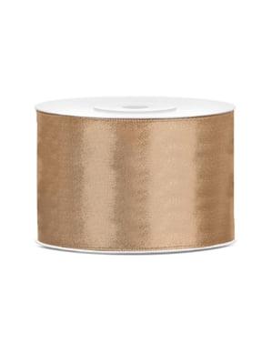 Satinbånd i lys guld, der måler 50mm x 25m