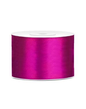 Satin ribbon in dark fuschia measuring 50mm x 25m