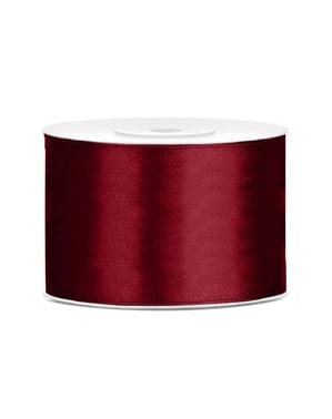 Satengbånd i rødbrun med mål på 50mm x 25m