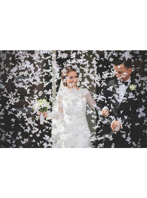 Canhão de confete com borboletas brancas de 40 cm
