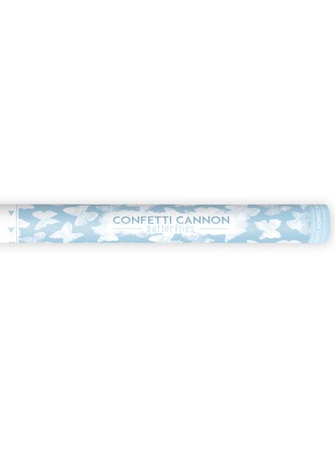 Canhão de confete de  borboletas brancas de 60 cm