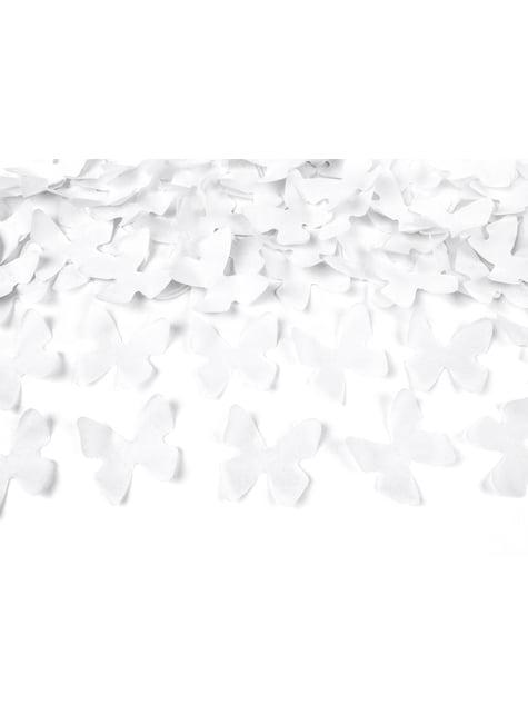 Canon à confettis papillons blancs de 60 cm