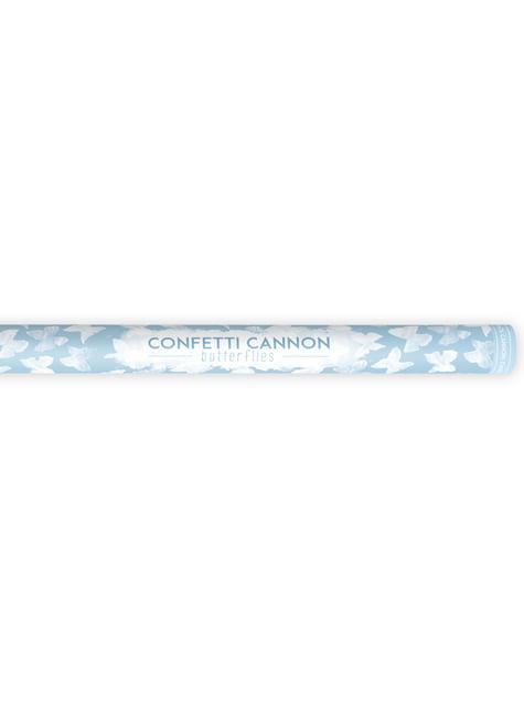 Canon à confettis papillons blancs de 80 cm