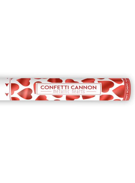 Confetti Cannon with Red Hearts, 40cm