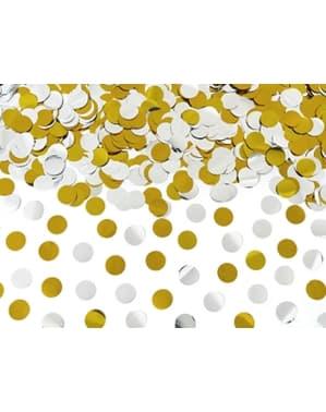 Konfettikanon guldfärgad och silverfärgad 60 cm