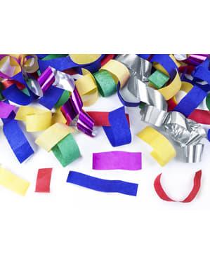 Canhão de confete e serpentinas multicolores de 40 cm