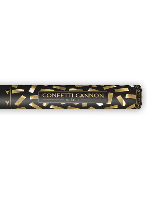 Canhão de confete  rectangular dourado de 40 cm