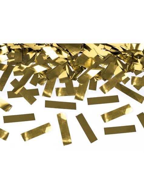 Canon à confettis rectangle doré de 40 cm