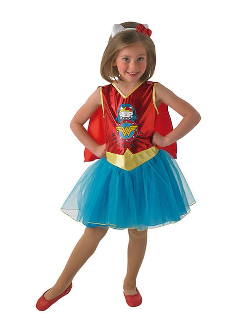Fato de Wonder Woman Hello Kitty para rapariga