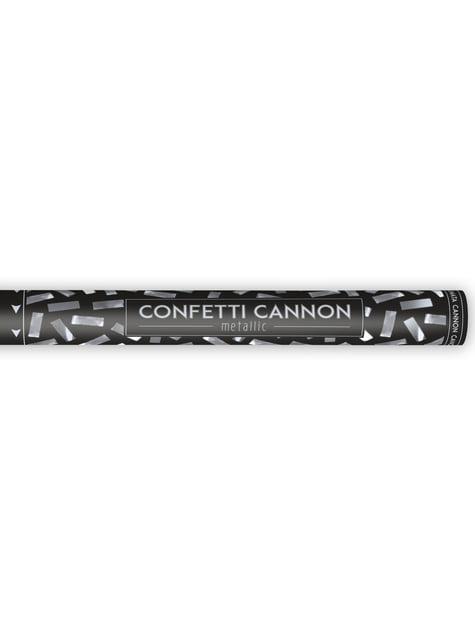 Cañón de confeti rectangular plateado de 60 cm - barato