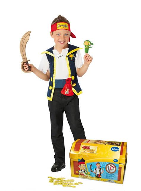 Disfraz de Jake y los piratas Nunca Jamás para niño en cofre