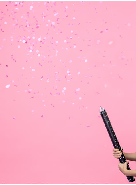 Cañón de confeti rosa de 60 cm