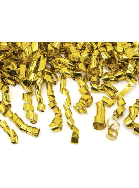 Cañón de confeti con serpentinas doradas de 80 cm