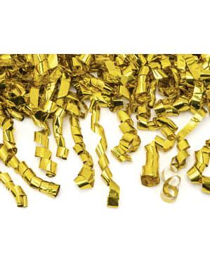 Konfettikanon med serpentiner guldfärgade 80 cm