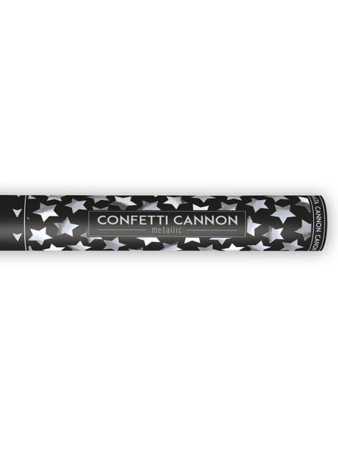 Canhão de confete com estrelas prateadas de 40 cm