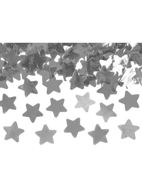 Cañón de confeti con estrellas plateadas de 40 cm
