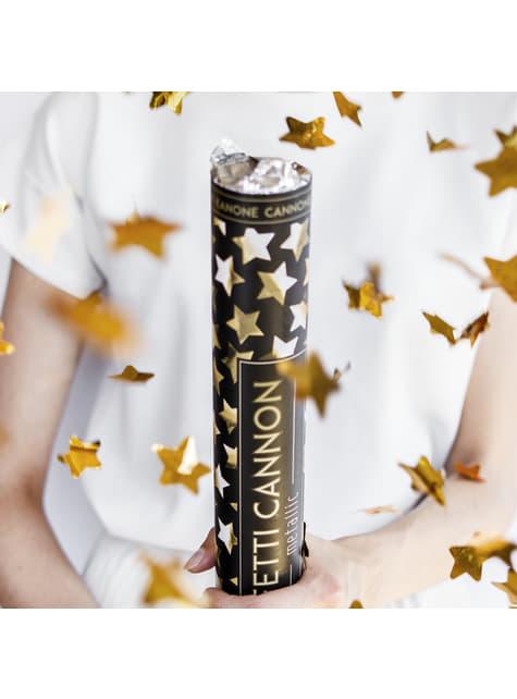 Canhão de confete com  estrelas douradas de 40 cm