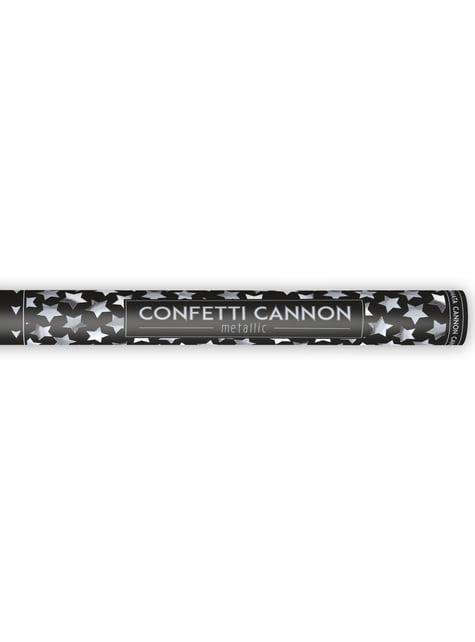 Canon à confettis étoiles argentées de 60 cm