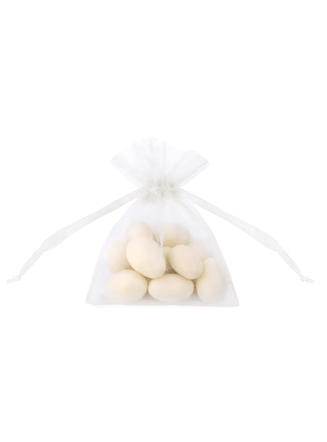20 sachets blanc en organza