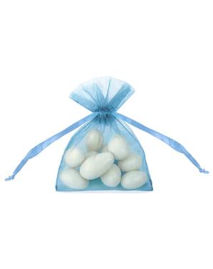 20 sachets bleu ciel en organza