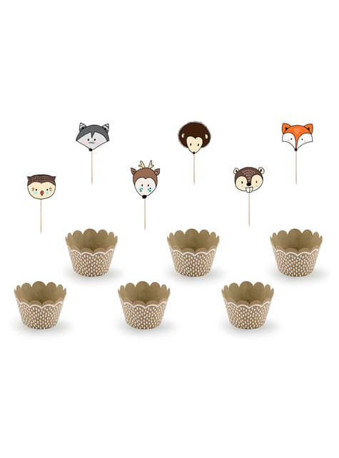 6 Kraft Paper Cupcake Wrappers - Woodland