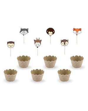 6 cupcakes de hârtie Kraft - Woodland