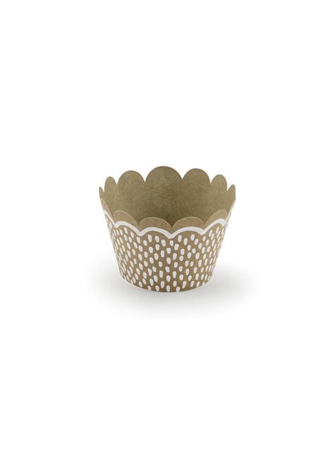 6 cápsulas para cupcakes de papel Kraft - Woodland - barato