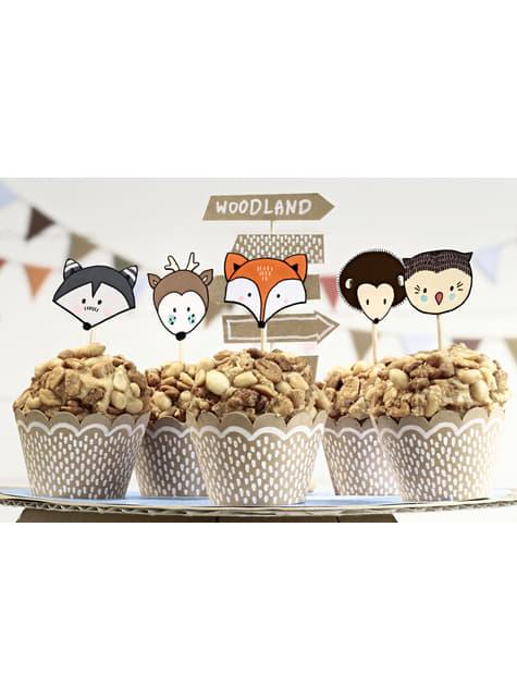 6 cápsulas para cupcakes de papel Kraft - Woodland - para niños y adultos