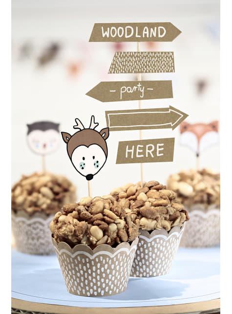 6 cápsulas para cupcakes de papel Kraft - Woodland - original