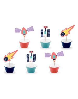 6 cápsulas para cupcakes del espacio variados de papel - Space Party