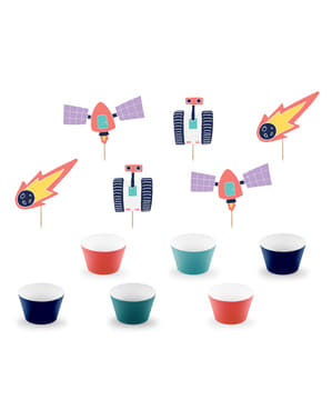 6 Space Paper Cupcake Wrappers, Assorted - Space Party