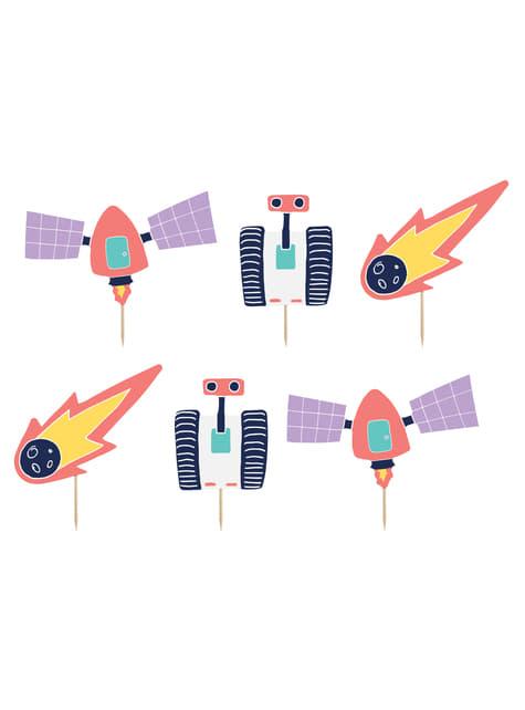 6 cápsulas para cupcakes del espacio variados de papel - Space Party - barato