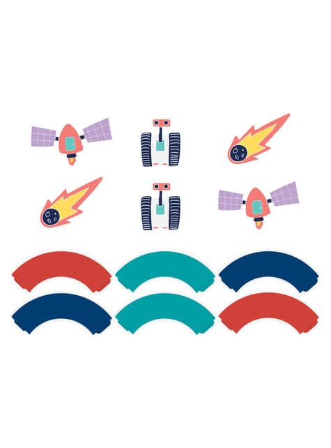 6 cápsulas para cupcakes del espacio variados de papel - Space Party - para niños y adultos
