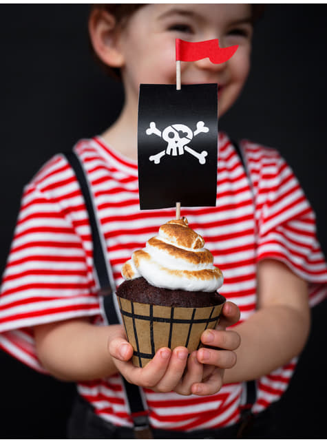6 cápsulas para cupcakes piratas variados de papel - Pirates Party