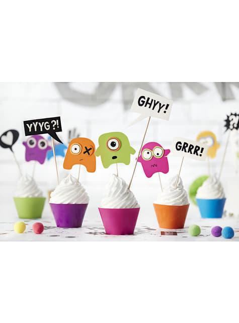 6 pirottini per cupcakes di mostri assortiti di carta - Monster Party