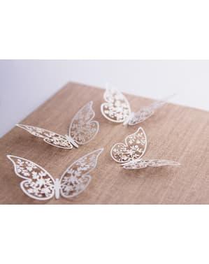 Комплект от 10 декорации за маса с пеперуди с цветя, бял