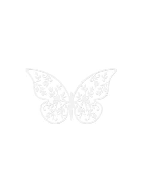 10 mariposas blancas con flores para mesa - comprar