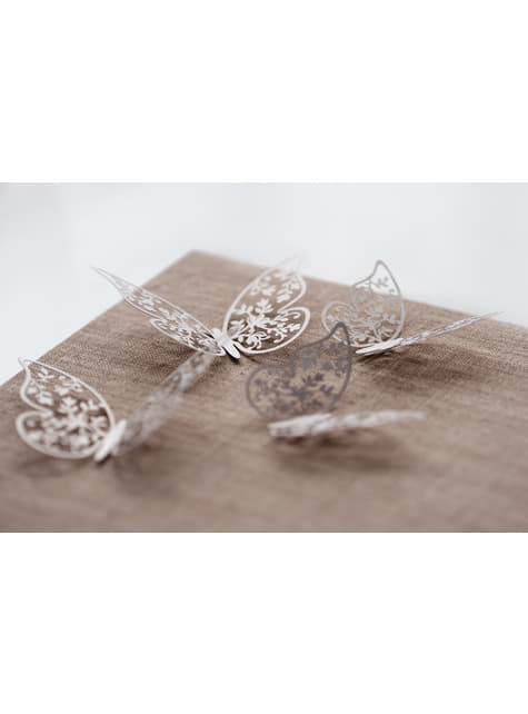 10 mariposas blancas con flores para mesa - original