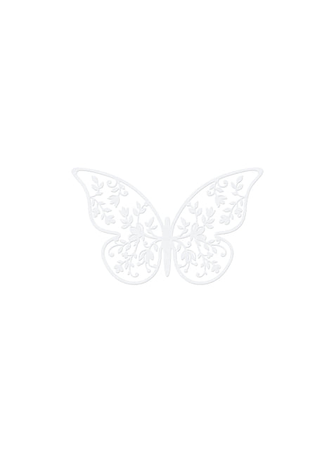10 mariposas blancas pequeñas con flores para mesa - comprar