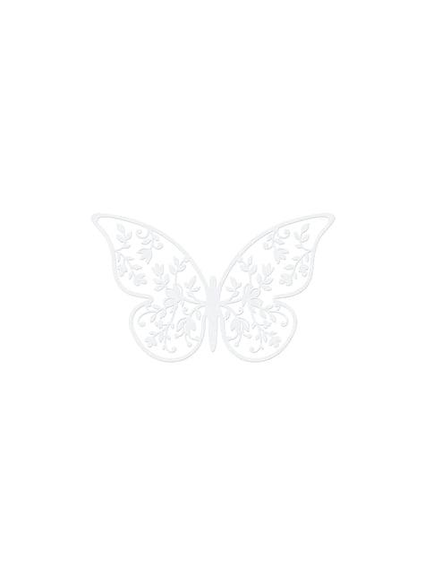 10 pientä lasiperhos pöytäkoristetta kukkasilla, valkoinen