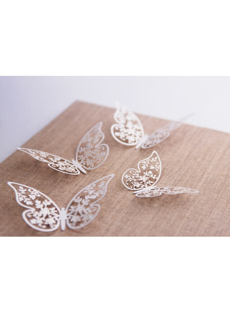 10 mariposas blancas pequeñas con flores para mesa
