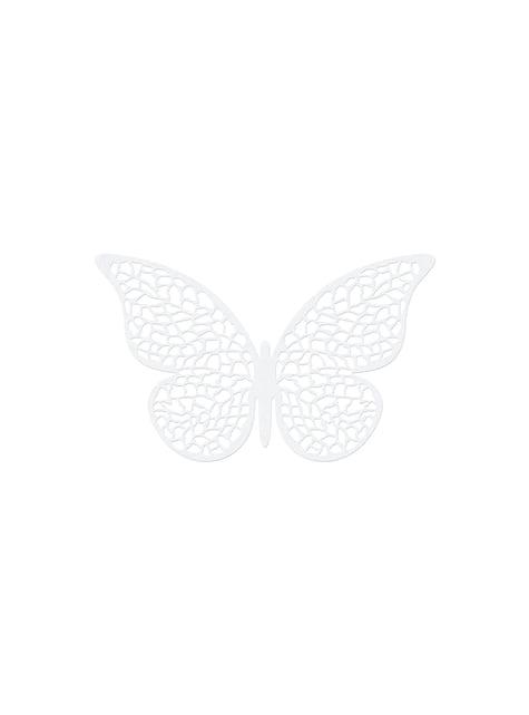 10 mariposas blancas con alas para mesa