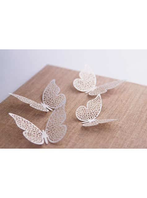 10 mariposas blancas con alas para mesa - para tus fiestas