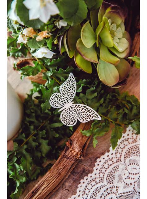 10 mariposas blancas con alas para mesa - comprar