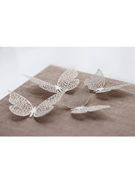 10 mariposas blancas pequeñas con alas para mesa