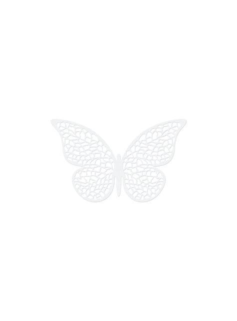 10 pientä lasiperhos -pöytäkoristetta, valkoinen