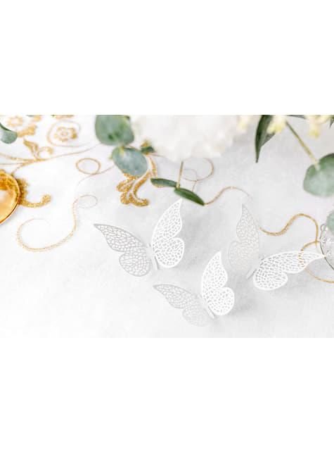 10 petits papillons blanches avec ailes pour la table