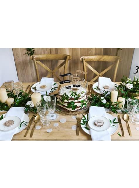 10 koristeellista, valkoista paperiviuhkaa pöydälle